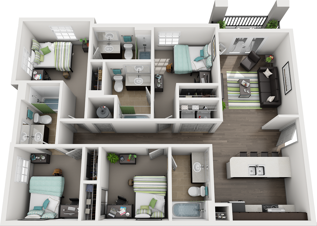 Quarters Tallahassee D1: 4 BED 4 BATH